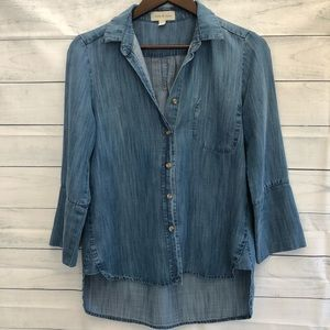 CLOTH & STONE denim chambray button top 3/4 sleeve